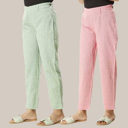 Combo of 2 Ankle Length Pants-Green and Pink Cotton Samray-33835