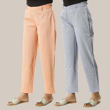 Combo of 2 Ankle Length Pants-Orange and Blue Cotton Samray-33847