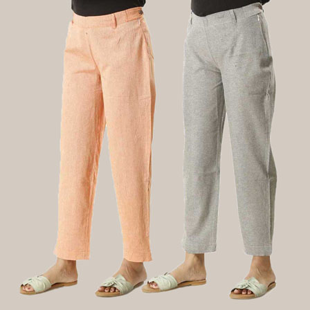 Combo of 2 Ankle Length Pants-Orange and Gray Cotton Samray-33836