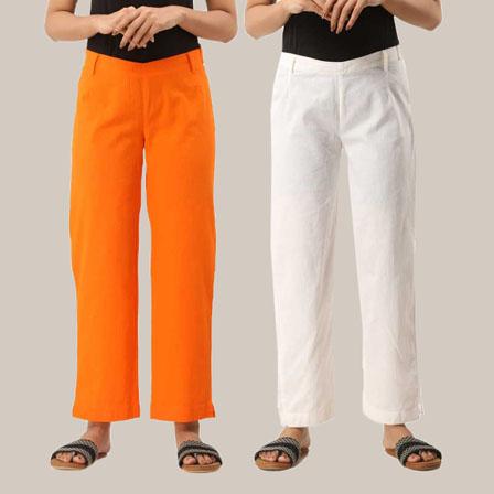 Combo of 2 Ankle Length Pants-Orange and White Cotton Samray-33800