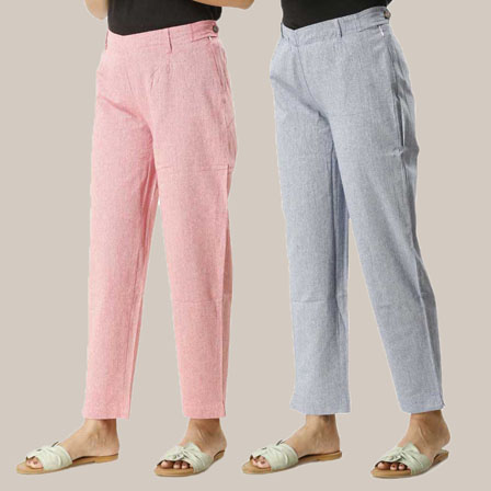 Combo of 2 Ankle Length Pants-Pink and Blue Cotton Samray-33845