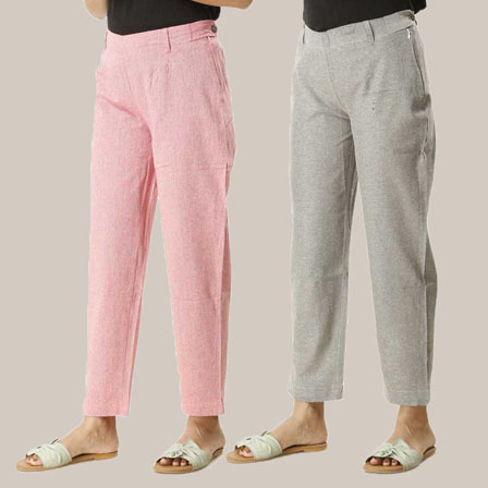 Combo of 2 Ankle Length Pants-Pink and Gray Cotton Samray-33846