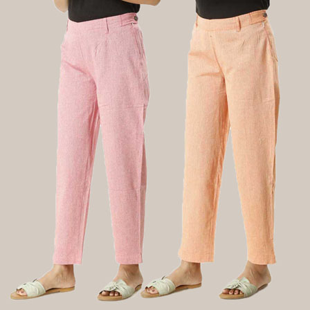 Combo of 2 Ankle Length Pants-Pink and Orange Cotton Samray-33844