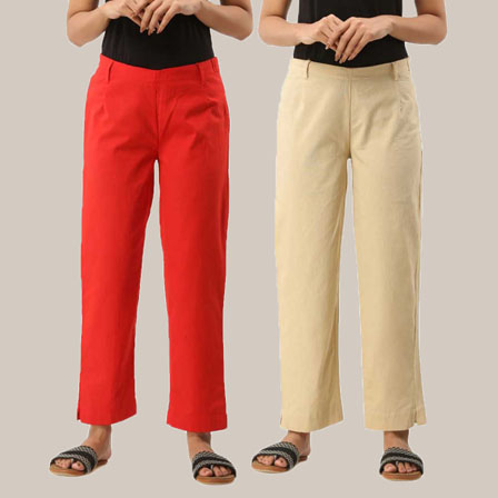 Combo of 2 Ankle Length Pants-Red and Beige Cotton Samray-33804