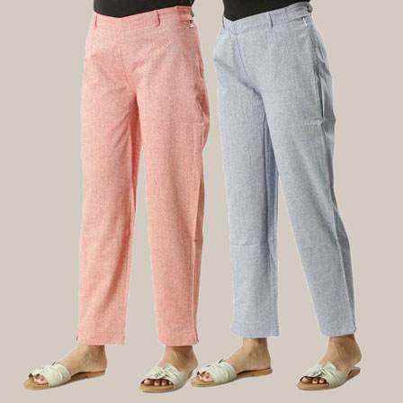 Combo of 2 Ankle Length Pants-Red and Blue Cotton Samray-33837