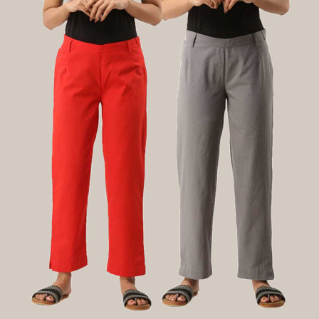 Combo of 2 Ankle Length Pants-Red and Gray Cotton Samray-33810