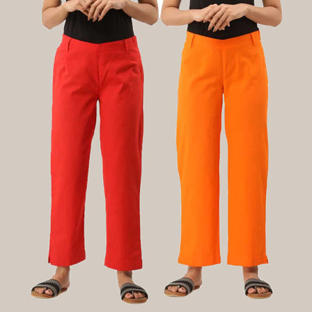 Combo of 2 Ankle Length Pants-Red and Orange Cotton Samray-33805