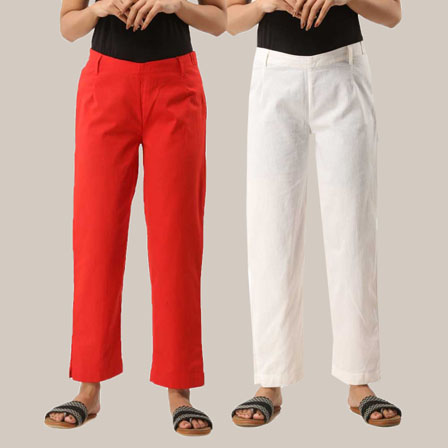 Combo of 2 Ankle Length Pants-Red and White Cotton Samray-33811