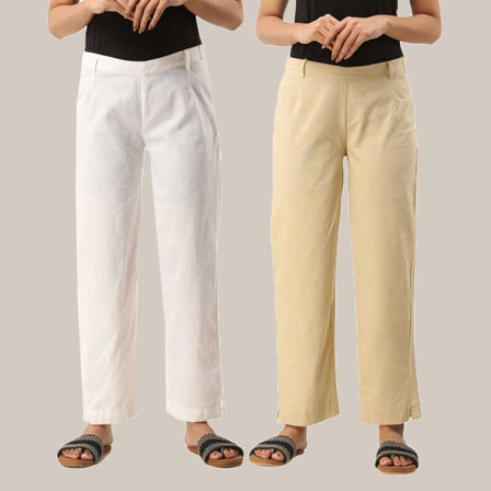 Combo of 2 Ankle Length Pants-White and Beige Cotton Samray-33813