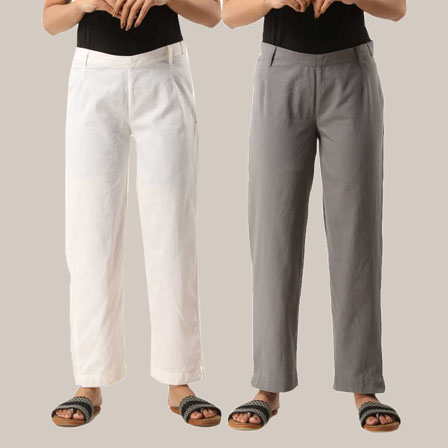 Combo of 2 Ankle Length Pants-White and Gray Cotton Samray-33803