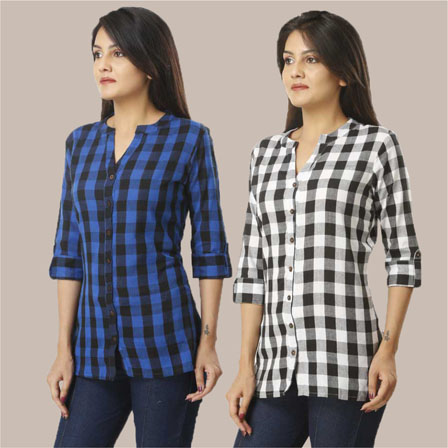 Combo of 2 Shirts-Blue and Black 3/4 Sleeve Handloom Cotton-33788