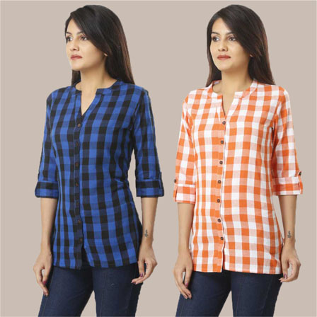 Combo of 2 Shirts-Blue and Orange 3/4 Sleeve Handloom Cotton-33772