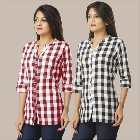 Combo of 2 Shirts-Magenta Pink and Black 3/4 Sleeve Handloom Cotton-33780