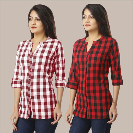 Combo of 2 Shirts-Magenta Pink and Red 3/4 Sleeve Handloom Cotton-33782