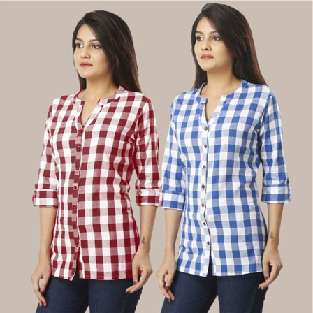 Combo of 2 Shirts-Magenta Pink and Sky Blue 3/4 Sleeve Handloom Cotton-33781