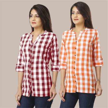 Combo of 2 Shirts-Mangenta Pink and Orange 3/4 Sleeve Handloom Cotton-33774