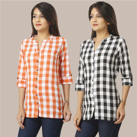 Combo of 2 Shirts-Orange and Black 3/4 Sleeve Handloom Cotton-33769