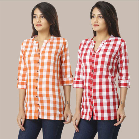 Combo of 2 Shirts-Orange and Pink 3/4 Sleeve Handloom Cotton-33770
