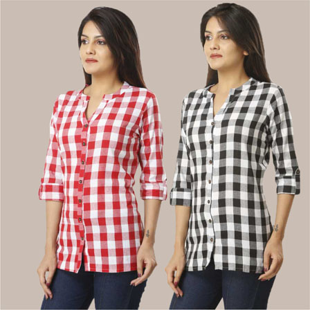 Combo of 2 Shirts-Pink and Black 3/4 Sleeve Handloom Cotton-33775