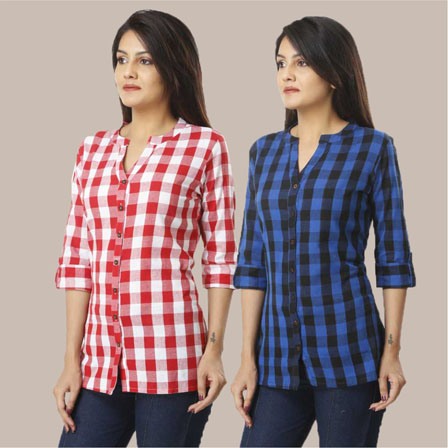 Combo of 2 Shirts-Pink and Blue 3/4 Sleeve Handloom Cotton-33776