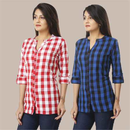 Combo of 2 Shirts-Pink and Blue 3/4 Sleeve Handloom Cotton-33779