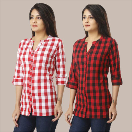 Combo of 2 Shirts-Pink and Red 3/4 Sleeve Handloom Cotton-33778