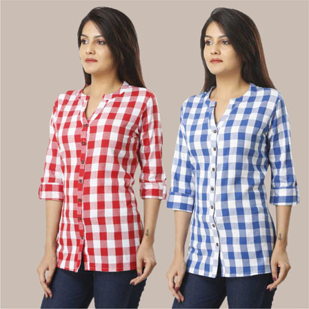 Combo of 2 Shirts-Pink and Sky Blue 3/4 Sleeve Handloom Cotton-33777
