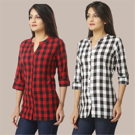Combo of 2 Shirts-Red and Black 3/4 Sleeve Handloom Cotton-33786