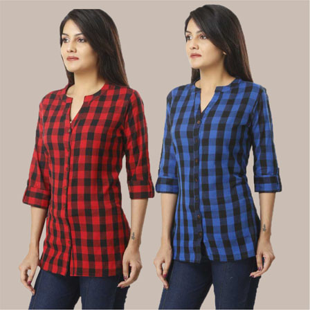 Combo of 2 Shirts-Red and Blue 3/4 Sleeve Handloom Cotton-33785