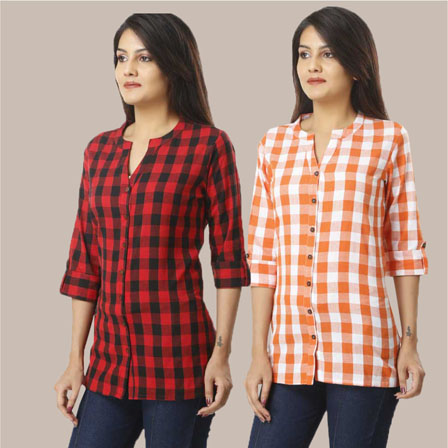 Combo of 2 Shirts-Red and Orange 3/4 Sleeve Handloom Cotton-33771