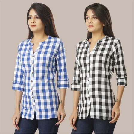 Combo of 2 Shirts-Sky Blue and Black 3/4 Sleeve Handloom Cotton-33787