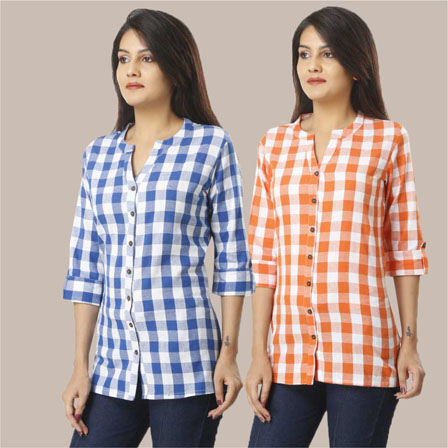 Combo of 2 Shirts-Sky Blue and Orange 3/4 Sleeve Handloom Cotton-33773