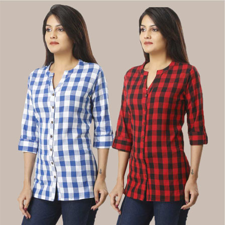Combo of 2 Shirts-Sky Blue and Red 3/4 Sleeve Handloom Cotton-33783