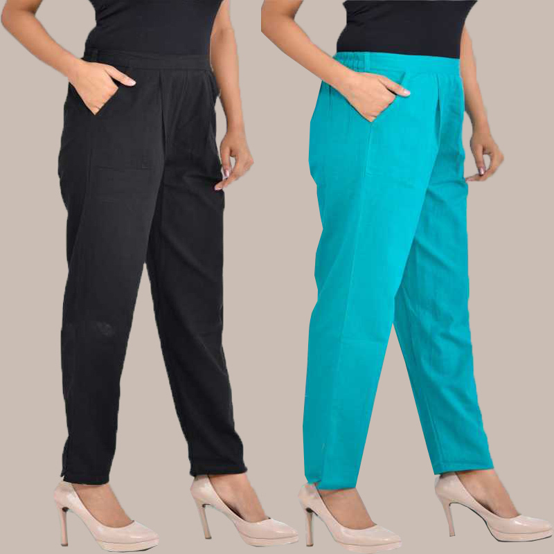 Combo of 2 Cotton Ankle Length Trouser Black and Cyan-34824
