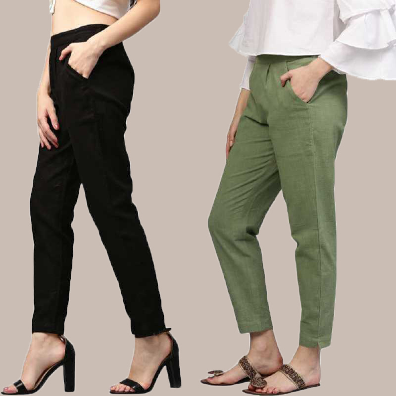 Combo of 2 Cotton Ankle Length Trouser Black and Olive Green-34800