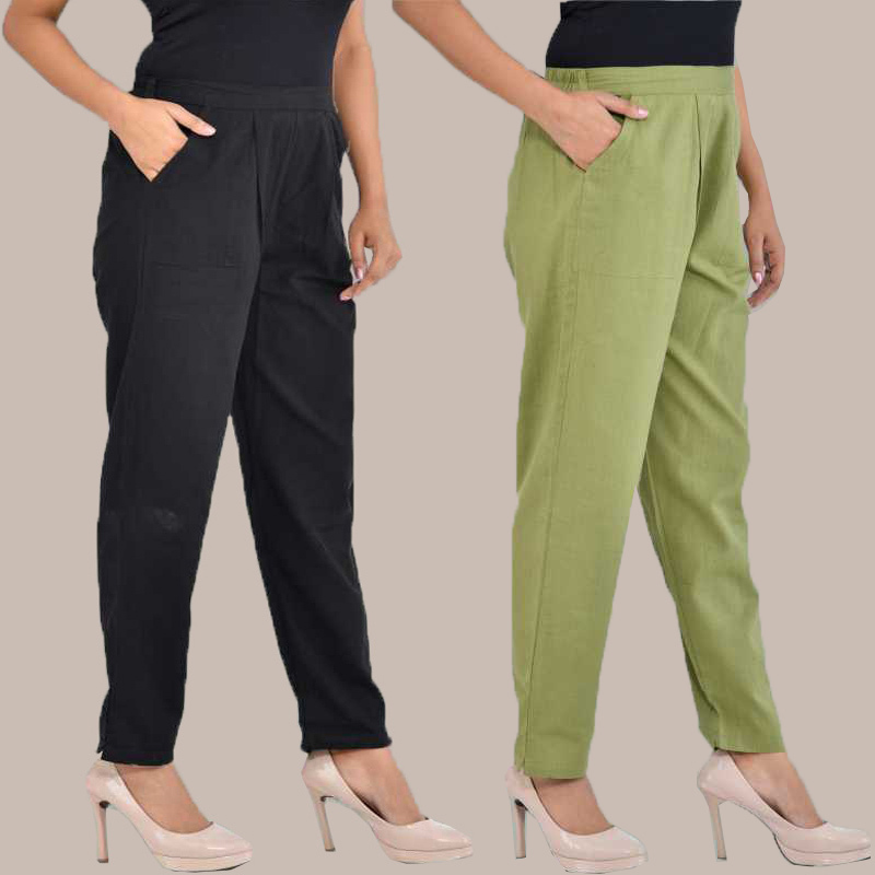 Combo of 2 Cotton Ankle Length Trouser Black and Olive Green-34825