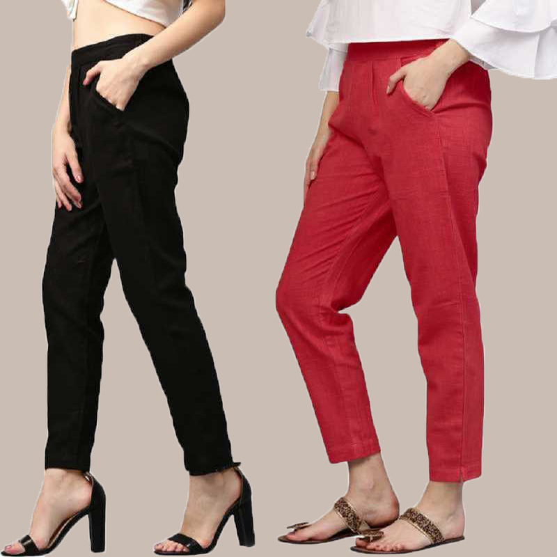 Combo of 2 Cotton Ankle Length Trouser Black and Red-34811