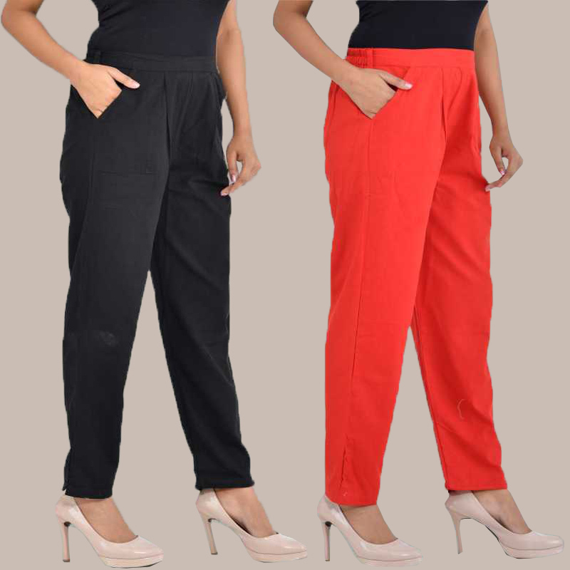 Combo of 2 Cotton Ankle Length Trouser Black and Red-34822