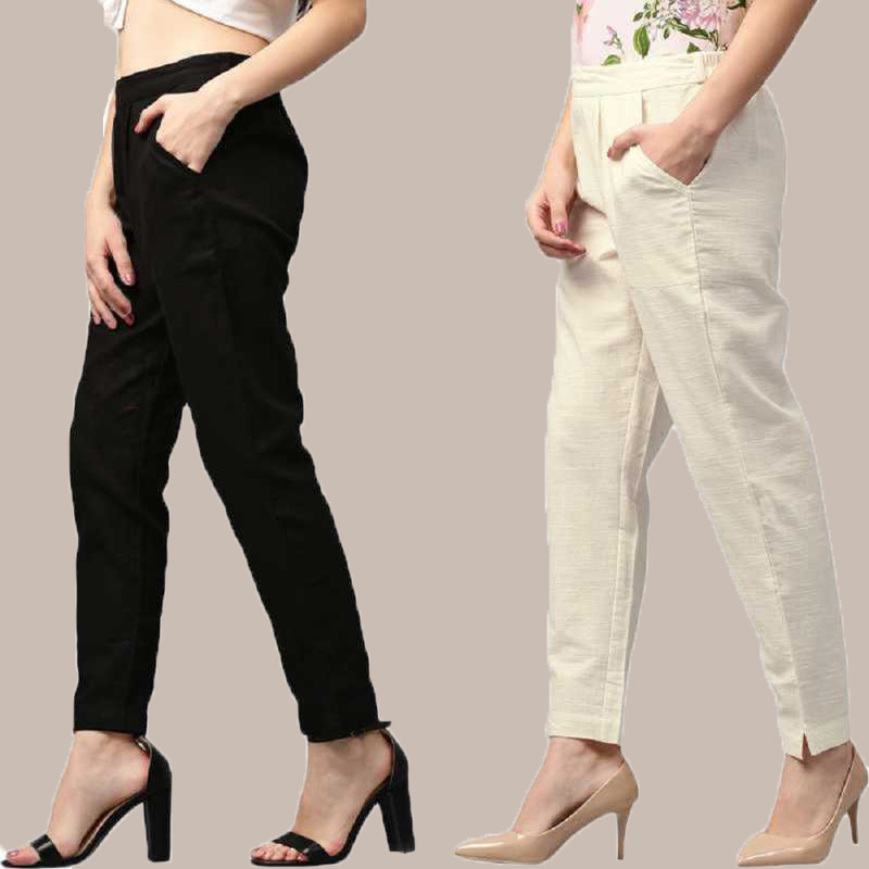 Combo of 2 Cotton Ankle Length Trouser Black and White-34801