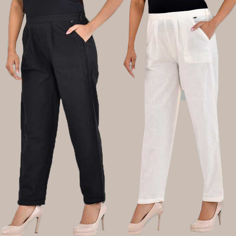 Combo of 2 Cotton Ankle Length Trouser Black and White-34823