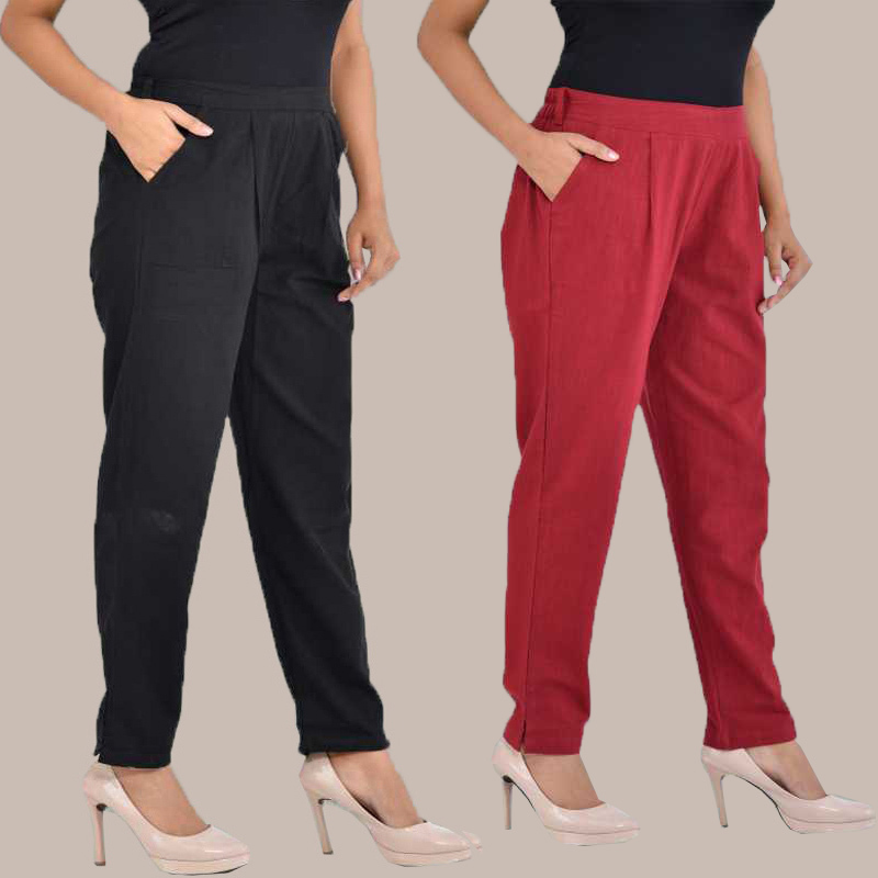 Combo of 2 Cotton Ankle Length Trouser Black and Wine-34826