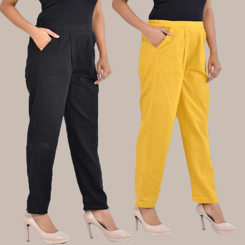 Combo of 2 Cotton Ankle Length Trouser Black and Yellow-34827