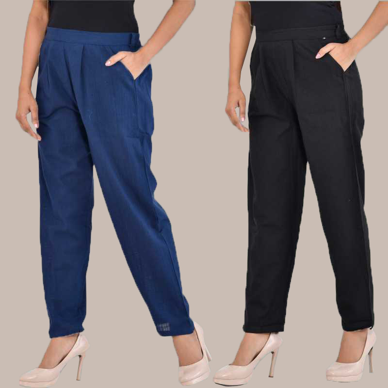 Combo of 2 Cotton Ankle Length Trouser Blue and Black-34817