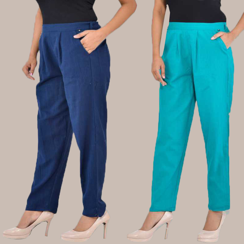 Combo of 2 Cotton Ankle Length Trouser Blue and Cyan-34820