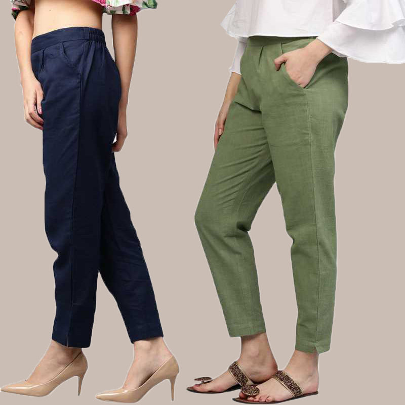 Combo of 2 Cotton Ankle Length Trouser Blue and Olive Green-34805