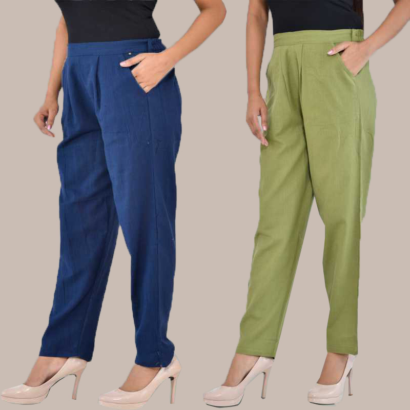 Combo of 2 Cotton Ankle Length Trouser Blue and Olive Green-34816