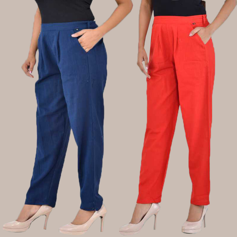 Combo of 2 Cotton Ankle Length Trouser Blue and Red-34815