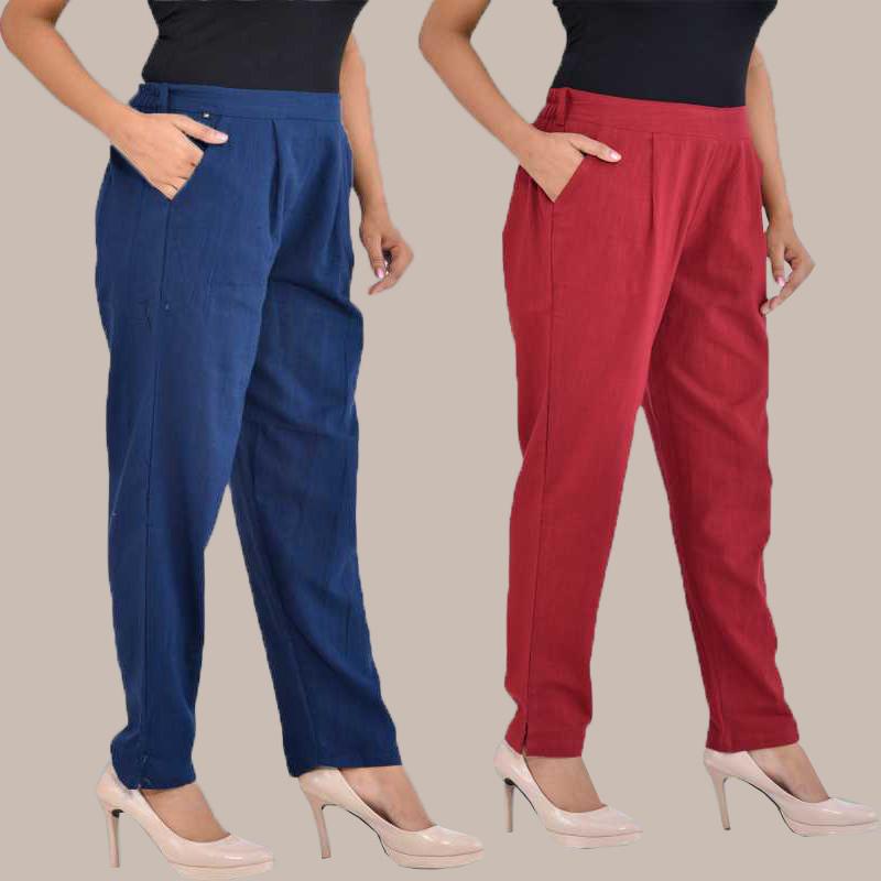 Combo of 2 Cotton Ankle Length Trouser Blue and WIne-34821