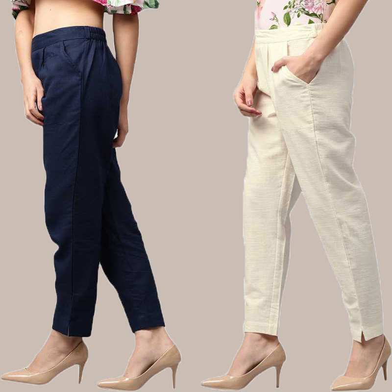 Combo of 2 Cotton Ankle Length Trouser Blue and White-34812