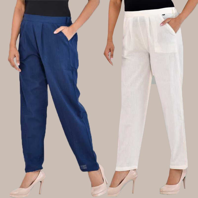 Combo of 2 Cotton Ankle Length Trouser Blue and White-34819